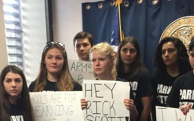 Students protest for increased school safety after the mass shooting in Parkland, Florida on February 14. (Zoe Terner/NFTY via Times Of Israel)