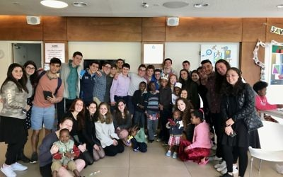 Write On For Israel students at Save a Child's Heart. Courtesy of Lily Weinberg.