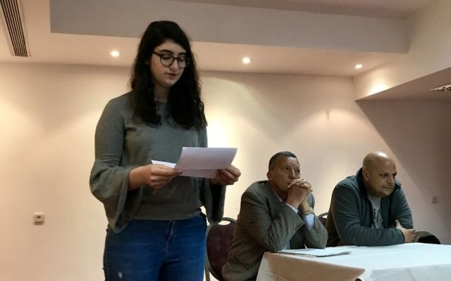 Sara Serfaty introducing Professor Nafez Nazzal and Rami Nazzal during the Write On For Israel 2018 mission. Courtesy of Lily Weinberg.