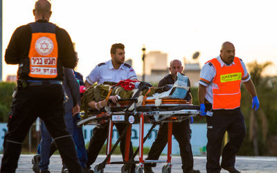 Medics evacuate by helicopter a wounded Israeli soldier at the Beilinson hospital in Petah Tikva on March 16, 2018, after two Israeli soldiers died and another two where injured in a car-ramming terror attack near Mevo Dothan, in the West Bank. JTA