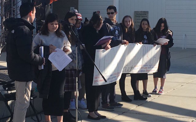 Students at the Ida Crown Jewish Academy in Skokie, Ill., holding a sign at their walkout to protest gun violence, March 14, 2018. Courtesy of Ida Crown Jewish Academy