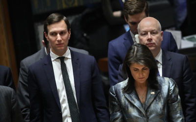 Jared Kushner, left, shown with U.S. ambassador to the United Nations Nikki Haley and his fellow Middle East peace negotiator Jason Greenblatt at a United Nations conference in New York, Feb. 20, 2018. (Drew Angerer/Getty Images)