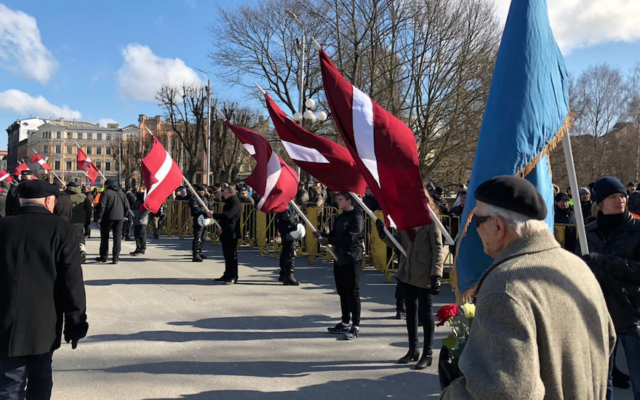 A view of the annual march on the Remembrance Day of the Latvian Legionnaires in Riga, March 16, 2018. (LTA Zinu dienests/Twitter)