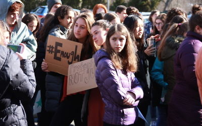 Earlier this month  Golda Och Academy students organized a memorial service for the Parkland shooting victims, in addition to a walkout to protest for gun reform. Courtesy of Golda Och Academy