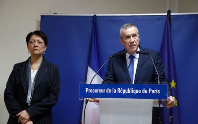 Paris prosecutor Francois Molins, right, speaking at a press conference at a Paris court house, March 26, 2018. (Francois Guillot/AFP/Getty Images)