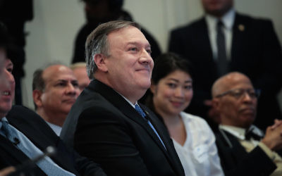Mike Pompeo, then the director of the CIA, at the American Enterprise Institute in Washington, D.C., Jan. 23, 2018. (Drew Angerer/Getty Images)