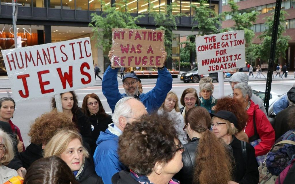 At the Manhattan coalition's vigil in memory of the U.S. turning away the St. Louis and sending hundreds of Jews back to their deaths in Europe. Courtesy of Harold Levine