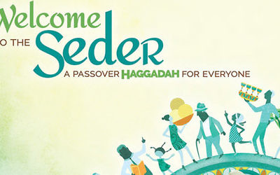 "Part of the cover of Rabbi Kerry Olitzkys new haggadah, ""Welcome To The Seder."" Artwork by Rinat Gilboa. Courtesy of Kerry Olitzky"
