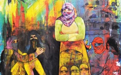 "Rostam Aghala's ""Daesh Molested the Girls (Yezidi Girls),"" at Ronald Feldman Gallery.  Artist's Collection/Ronald Feldman lery"
