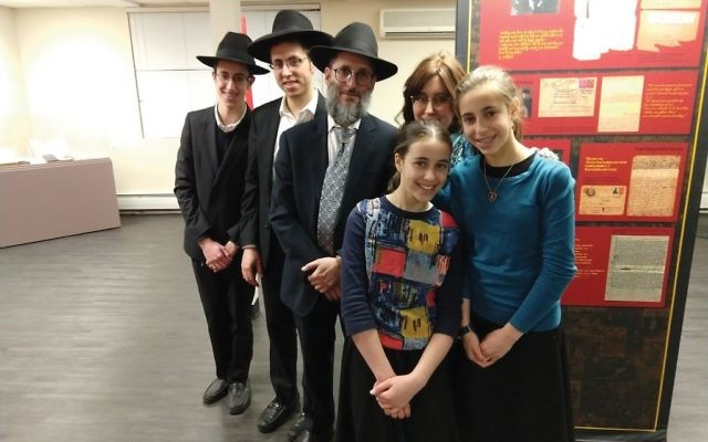 Yehuda and Breindy Gelbfish of Lakewood, N.J., who visited the Amud Aish Memorial Museum recently with four of their 10 children. Jon Kalish