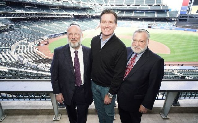 From left: Orthodox Union President Moishe Bane, New York State Sen. Majority Leader John Flanagan and O.U. Executive Vice President Allen Fagin at Citi Field for Torah New York, a day of Jewish learning, April 30, 2018. (Courtesy of Kruter Photography)
