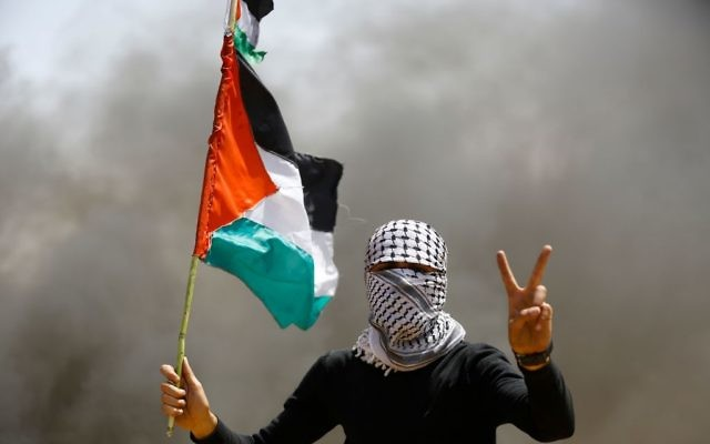 A Palestinian demonstrator on the Gaza-Israel border, east of Gaza City, on April 6, 2018. Getty Images