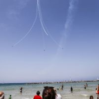 Illustrative photo of Tel Aviv beach as Israelis and tourists watch an air show during the festivities of the 70th Independence Day, on April 19, 2018. Getty Images