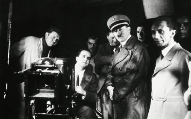 "Adolf Hitler and Propaganda Minister Joseph Goebbels in scene from ""Hitler's Hollywood."" Kino Lorber/Film Forum"