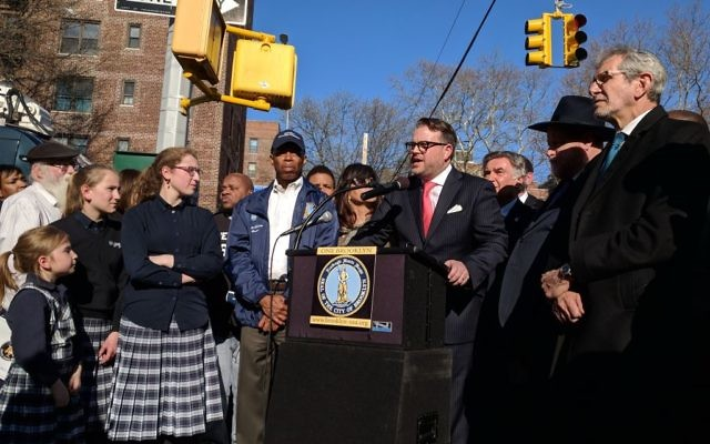 At the press conference in Crown Heights, Brooklyn on April 23, 2018. Amy Sara Clark/JW