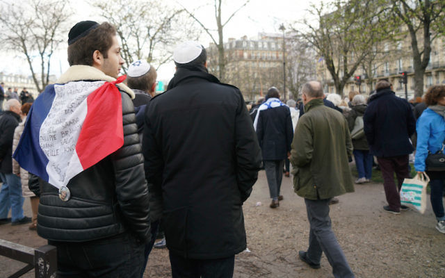 Jews participating in a memorial march for Mireille Knoll on March 28 in Paris. Some 10,000 people turned out to protest her killing and anti-Semitism in France. Cnaan Liphshiz/JTA