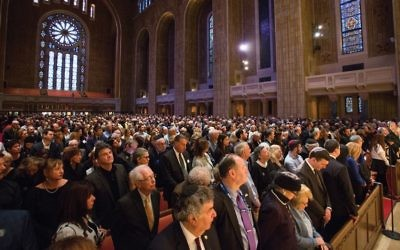 Last year's community-wide Yom HaShoah, Holocaust Remembrance Day, commemoration at Temple Emanu-El. John Halpern