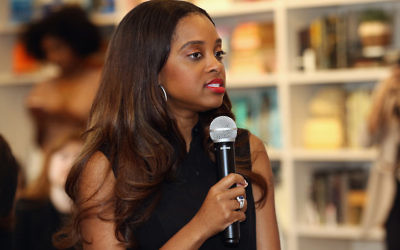 Women's March National Co-Chair Tamika Mallory speaking in New York, April 22, 2017. (Robin Marchant/Getty Images for Hulu)