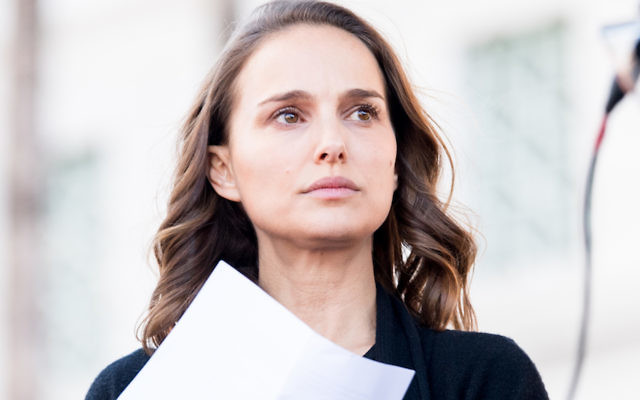 Natalie Portman at the Women's March in Los Angeles, Jan. 20, 2018. JTA