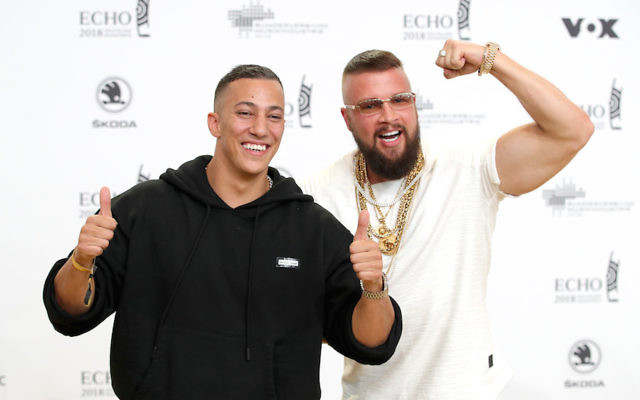 Farid Bang, left, and Kollegah at the Echo Award ceremony in Berlin, Germany, April 12, 2018. (Andreas Rentz/Getty Images)