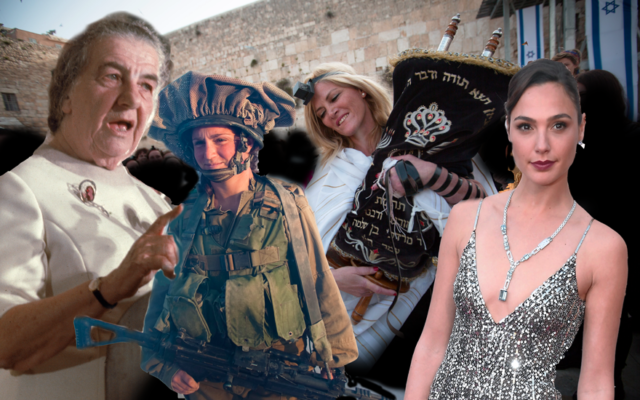 "Golda Meir, women soldiers, religious feminists and ""Wonder Woman"" Gal Gadot represent the various ways women in Israel and America have seen themselves reflected one in the other since 1948. (JTA collage)"