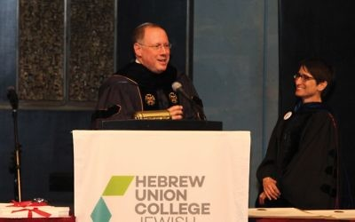 Rabbi Aaron Panken at an HUC graduation ceremony last Thursday, which took place just two days before he was killed when the small plane he was piloting crashed in Orange County, N.Y. Courtesy of HUC
