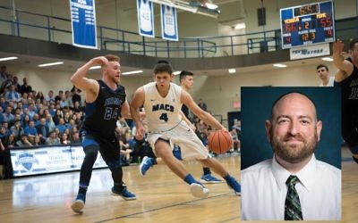 Yeshiva University's league champion basketball team was shaped by athletic director Joe Bednarsh, inset, who has begun recruiting outstanding athletes to the Modern Orthodox institution. Photos courtesy of YU