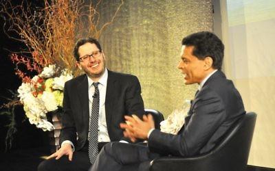 Bronfman Prize-winner David Lubell, left, being interviewed this week by CNN's Fareed Zakaria. Bill Stanton