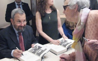"Ehud Barak signs copies of his new book, ""My Country, My Life: Fighting for Israel, Searching for Peace,"" in Livingston, N.J. Johanna Ginsberg"