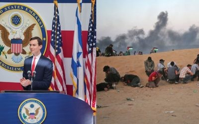 Split screen: Jared Kushner speaks Monday at the opening of the U.S. embassy in Jerusalem, and Palestinian protestors in Gaza crouch to try to avoid tear gas. Photos by Getty Images