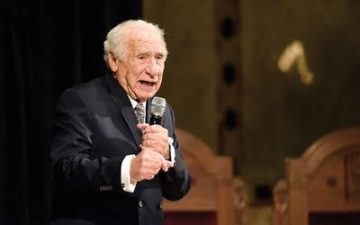 The master at work: Mel Brooks filled the sanctuary of Temple Emanu-El last week and in October, 4,800 people in all. Courtesy of Streicker Center