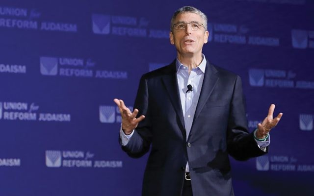 "Rabbi Rick Jacobs speaking at the 2015 Reform biennial in Orlando: ""I can distinguish between being upset at the government and being in touch with the people and with Jewish ideals."" URJ"