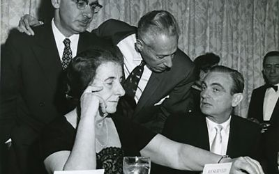 Golda Meir at United Jewish Appeal of Greater New York Inaugural Dinner in 1959. Wikimedia Commons