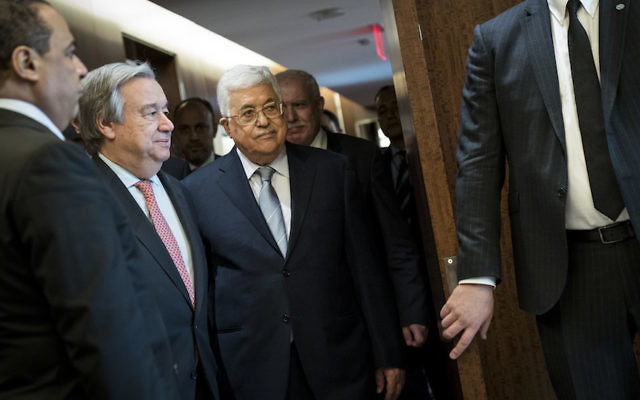 Palestinian Authority President Mahmoud Abbas, center, at U.N. headquarters in New York, Feb. 20, 2018. (Drew Angerer/Getty Images)