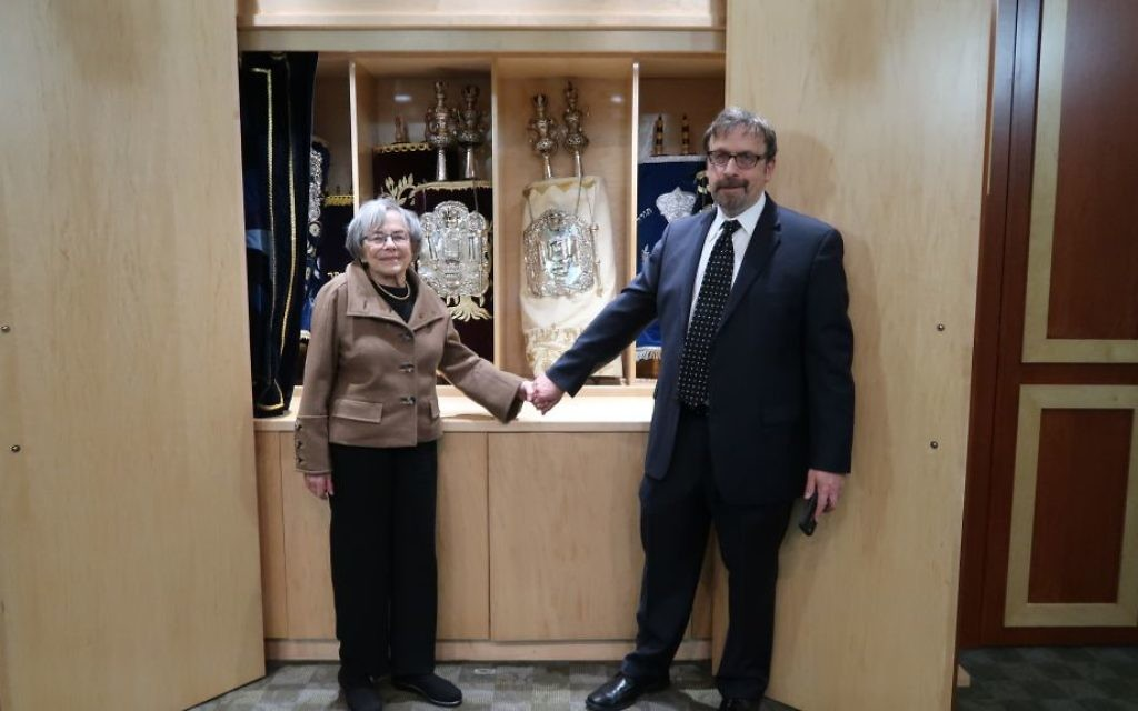 L-R, Dr. Marjorie Raab and Joel Raab, at the Parker Torah dedication and blessing.