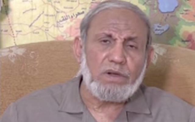 Mahmoud al-Zahar speaking on Al Jazeera, May 13, 2018. (Screenshot from MEMRI)