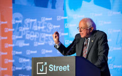 Bernie Sanders speaking at J Street's conference in Washington D,C., April 16, 2018. J Street