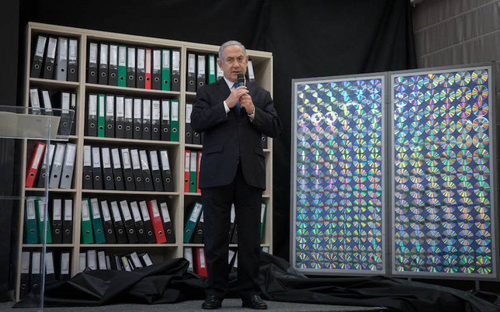 Prime Minister Benjamin Netanyahu of Israel speaking at the Kirya government headquarters in Tel Aviv, April 30, 2018. JTA