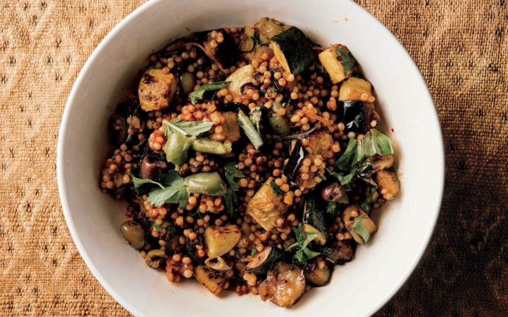 Alon Shaya's Israeli couscous with summer vegetables and caramelized tomato. Courtesy Alfred A. Knopf