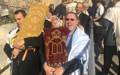 Rabbi Aaron Panken leading a Torah procession at the Western Wall in Jerusalem. JTA