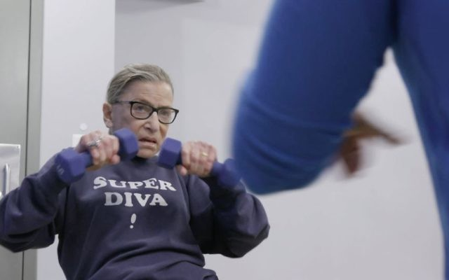 "Justice Ginsburg mid-workout routine in a scene from the 2018 documentary ""RBG."" (Courtesy of Magnolia Pictures)"