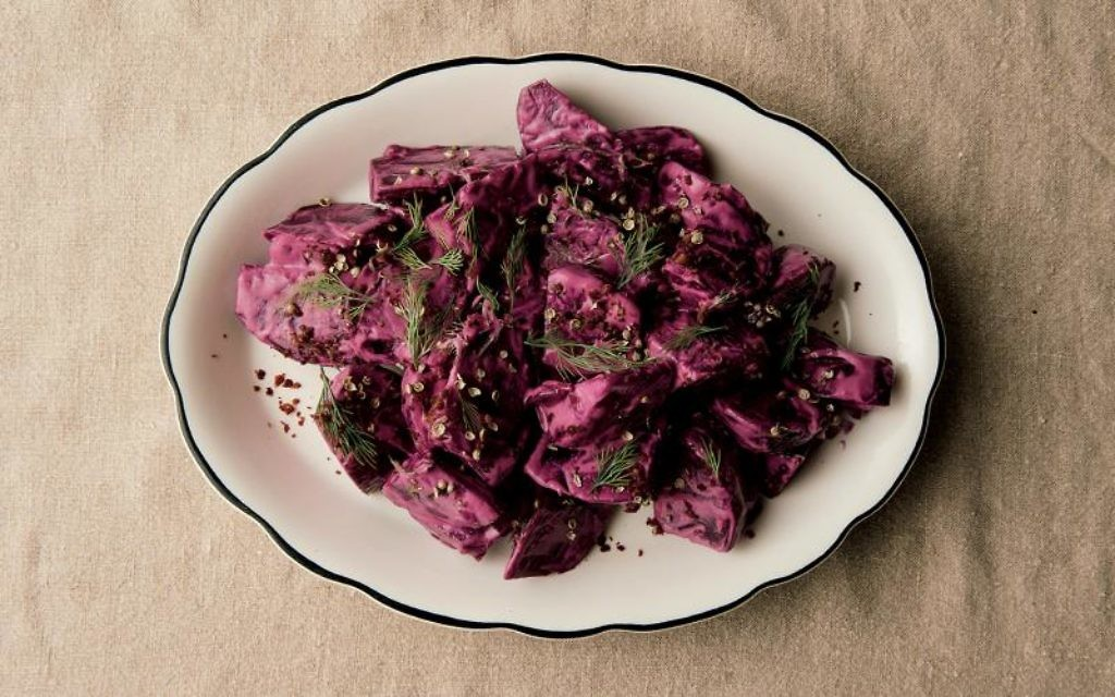 Alon Shaya's recipe for roasted beets with tahini salad. Courtesy Alfred A. Knopf