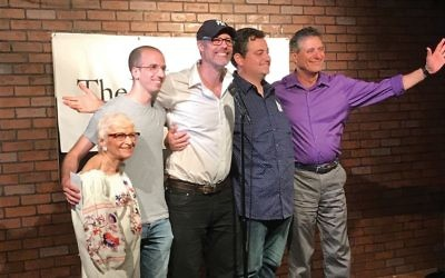 Funniest Jewish Comedian Contest winner Mike Blech, second from left, with comic Fay Susskind, producer Geoff Kole and runner-up David Weiss, right. Courtesy of Geoff Kole