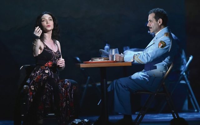 """Katrina Lenk and Tony Shalhoub in """"The Band's Visit.""""  Photos by Getty Images"""