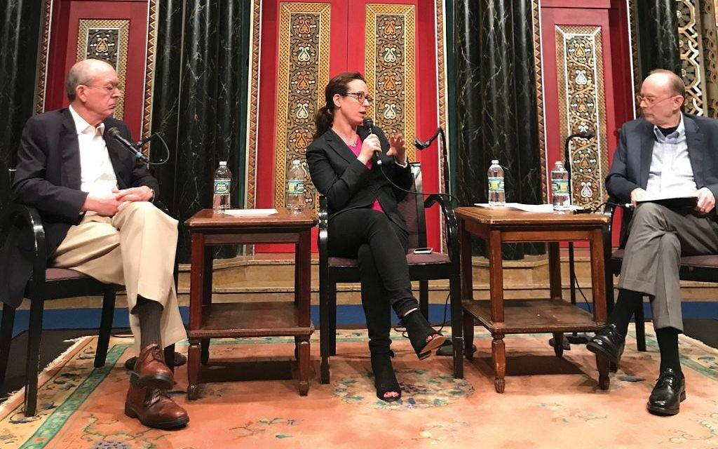 All in the family: Clyde Haberman, left, daughter Maggie Haberman and Gary Rosenblatt, who moderated a Jewish Week Forum discussion at Congregation B'nai Jeshurun on Sunday evening that focused on media coverage, from the White House to Jerusalem.  Colin A. Weil