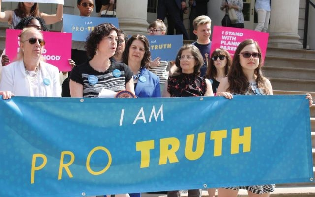 NCJW's Andrea Salwen Kopel launches Pro-Truth, a campaign against fake abortion clinics, at a press conference last week. With her, from left, are Manhattan Borough President Gale Brewer; Andrea Miller, president of the National Institute for Reproductive Health; and City Councilwoman Helen Rosenthal (D-Manhattan).
