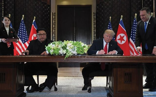 Kim Jong-un and President Trump signing a joint statement that was short on details but paved the way for a possible de-nuclearization of the Korean Peninsula. Getty Images