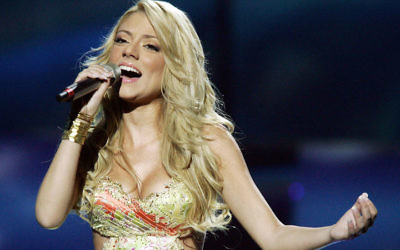 Shiri Maimon performing at the Eurovision contest in Kiev, Ukraine, in 2005. (Sean Gallup/Getty Images)