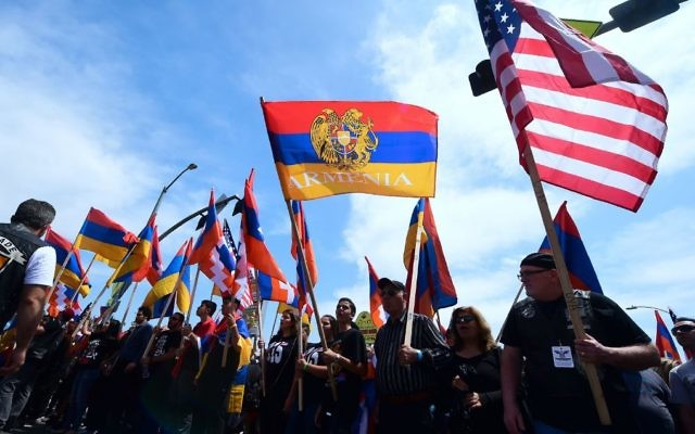 Armenian-Americans march in protest through the Little Armenia neighborhood of Hollywood, California on April 24, 2018 demanding recognition by Turkey on the 103rd anniversary of the 1915 Armenian genocide, which Turkey insists did not happen. Getty Images