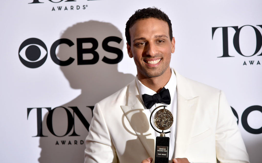 Ari'el Stachel, winner of the award for Best Performance by an Actor in a Featured Role in a Musical for 'The Band's Visit,' poses in the 72nd Annual Tony Awards Media Room at 3 West Club on June 10, 2018 in New York City. Getty Images